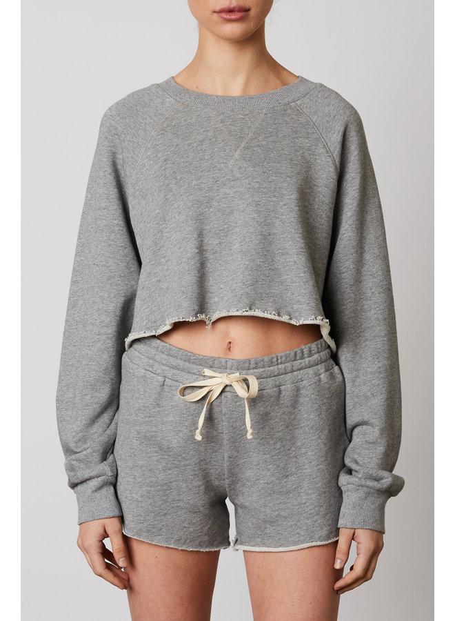 Crop Cotton Jacket Heather Grey