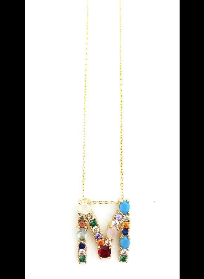 Gem Color Initial Necklace