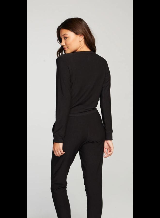 Long Sleeve Surplice Jumpsuit Black