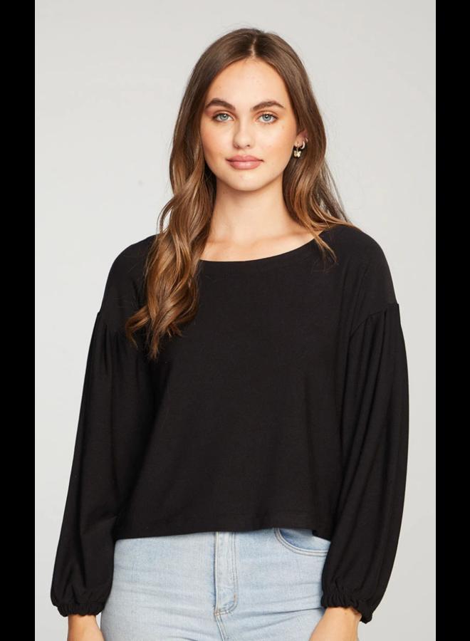 Cozy Knit Blouson Sleeve Crop