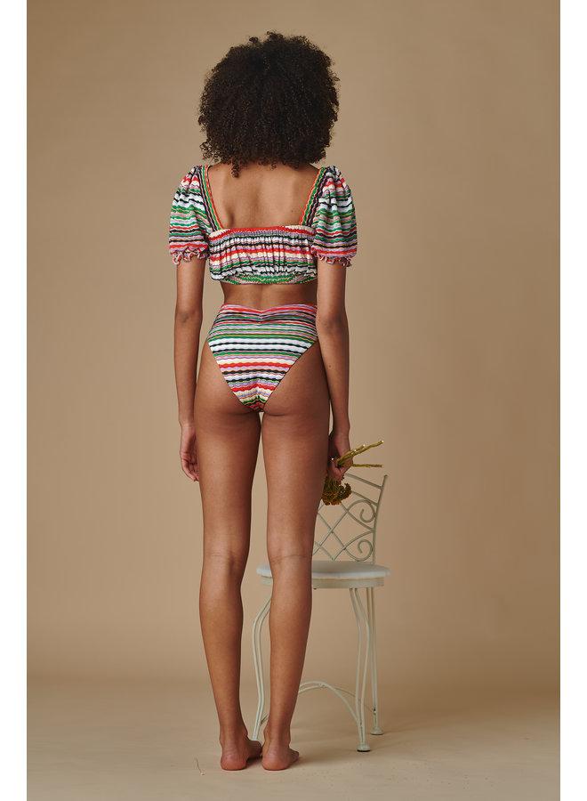 Paula Tie Up Bikini Bottom Mer Stripe