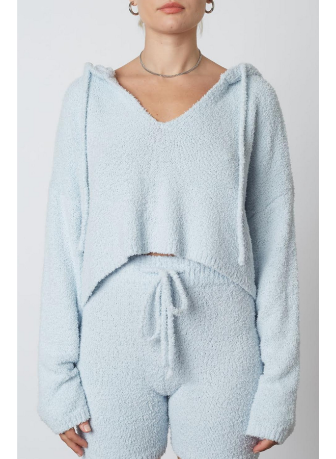 Notched Hooded Sweater Sky