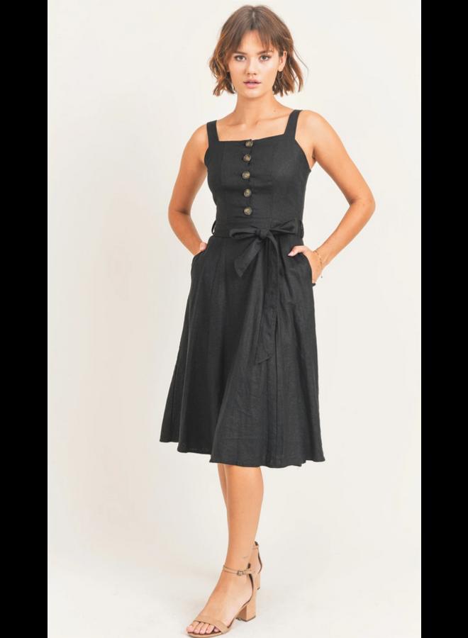 Leanna Front Button Tie Mid Dress