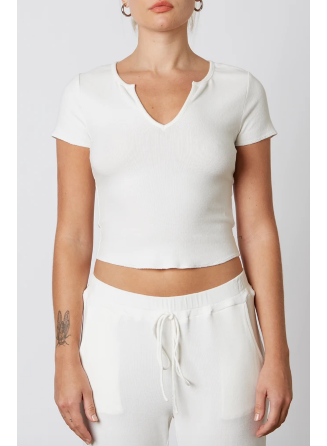 Ribbed Hacci Baby Tee White