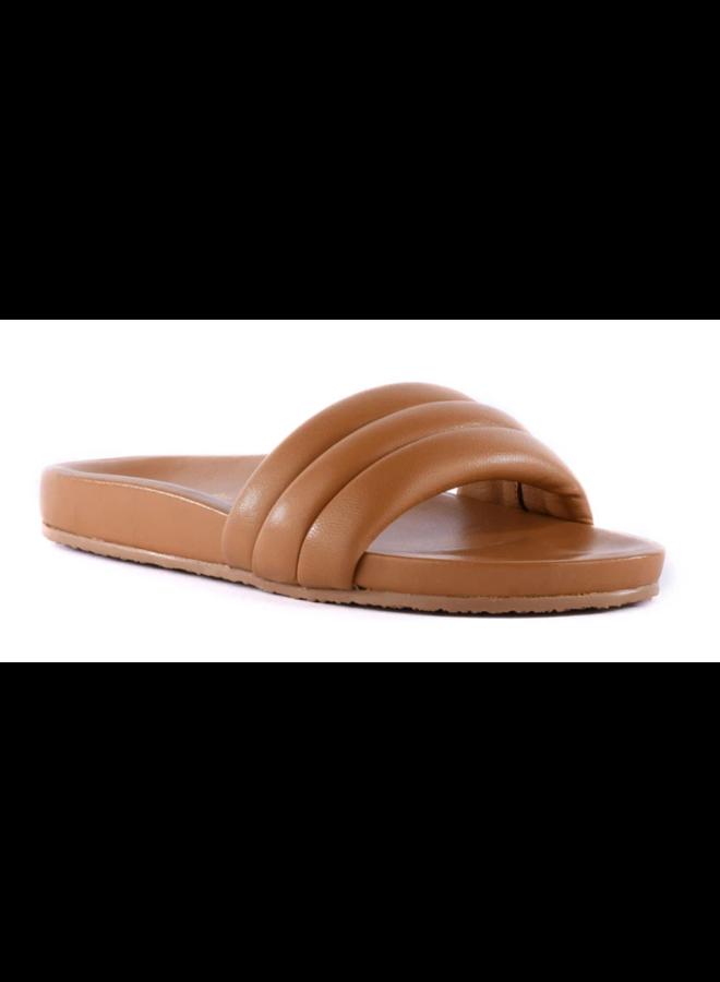 Lowkey Leather Slides Tan