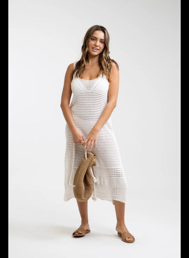 Slip Crochet Midi Dress White