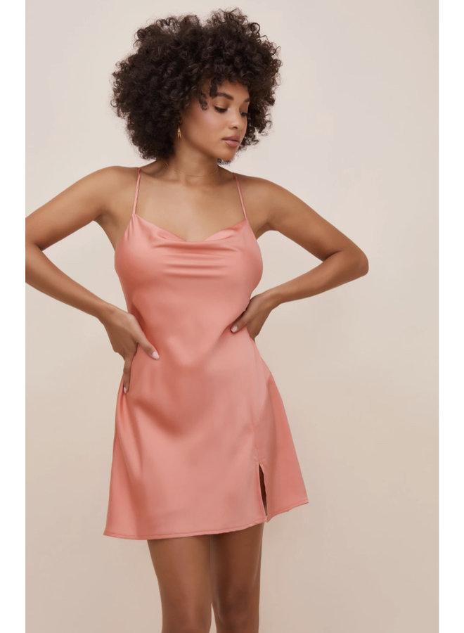 Cowl Neck Mini Dress Coral