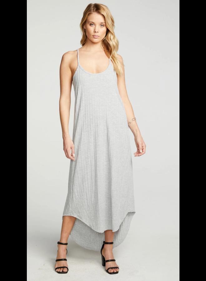 Rib V Back Midi Dress Heather Grey