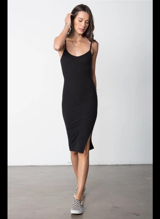 So Simple Rib Tank Dress Black