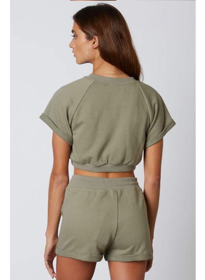 Amelia Rolled Short Sleeve Pullover Sage