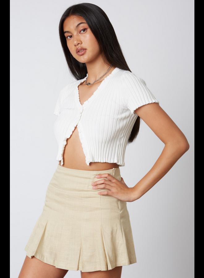 Olivia Linen Tennis Skirt Tan