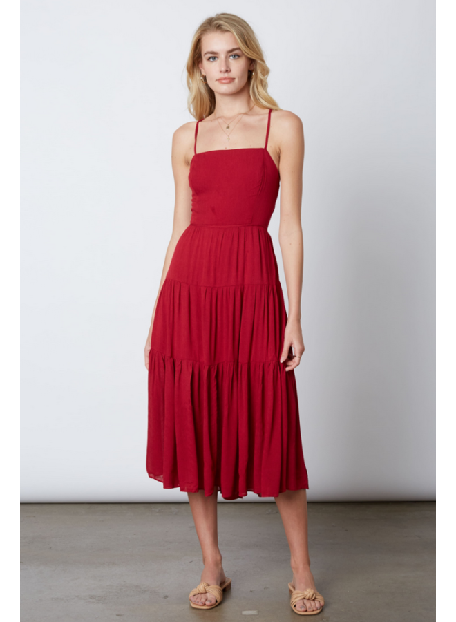 Nathalie Ruffle Midi Dress Cranberry