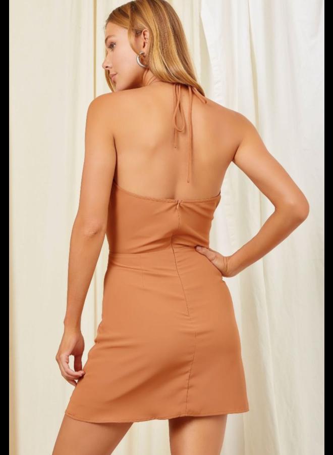 Paradise Halter Dress Brown