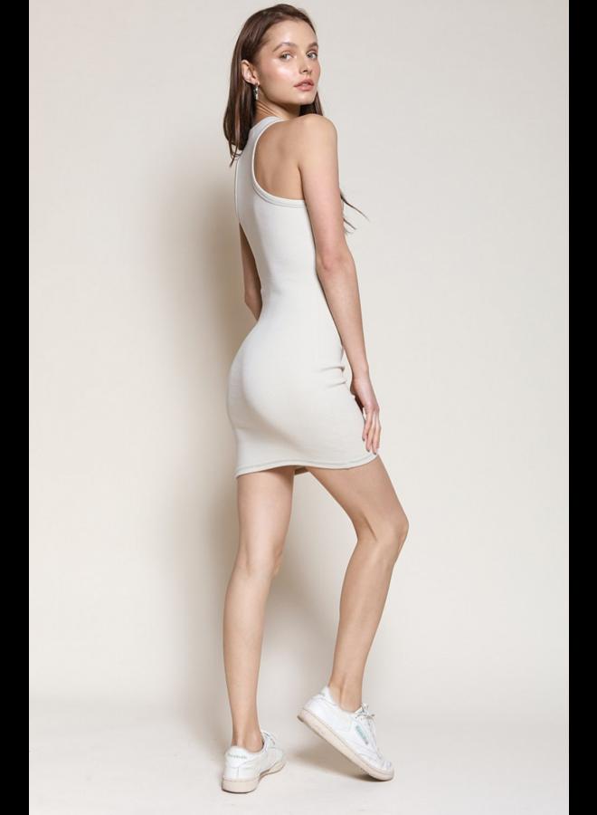 Sadie Ribbed Mini Dress Bone
