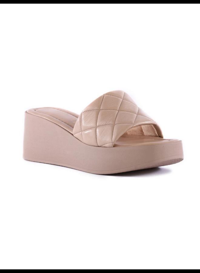 High Note Leather Platform Sandal Nude