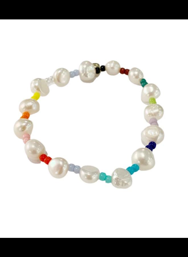 Fresh Water Pearl Multi Rainbow Bracelet