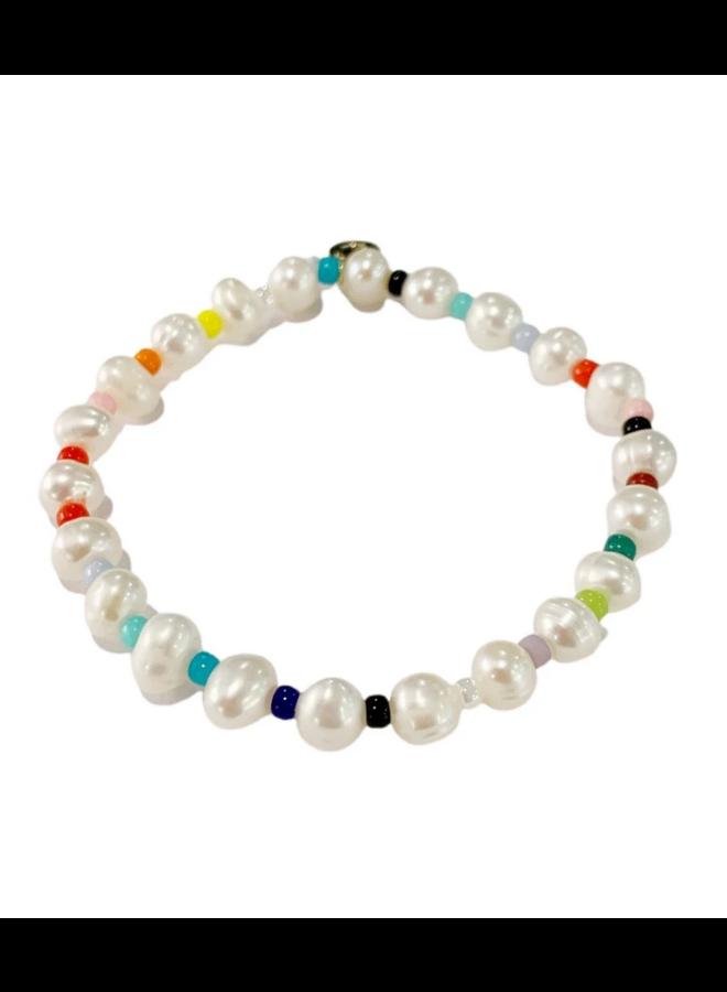Fresh Water Pearl Round Rainbow Bracelet