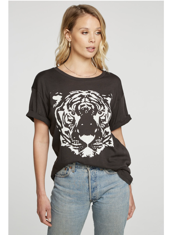 Jersey Roll Sleeve Tee White Tiger