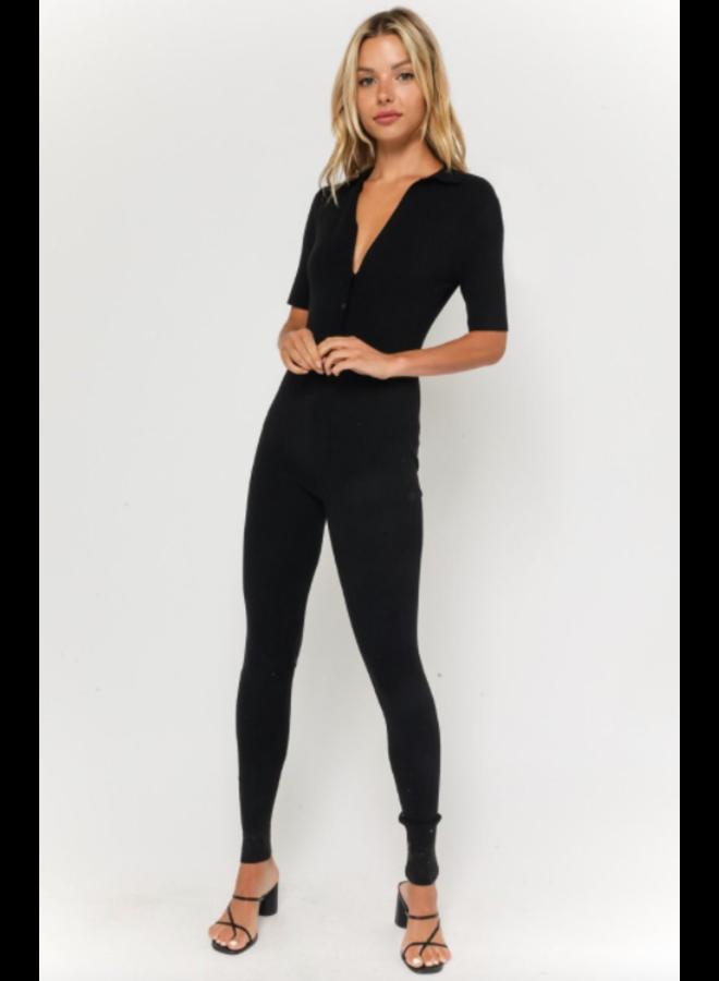 Collared Jumpsuit Black