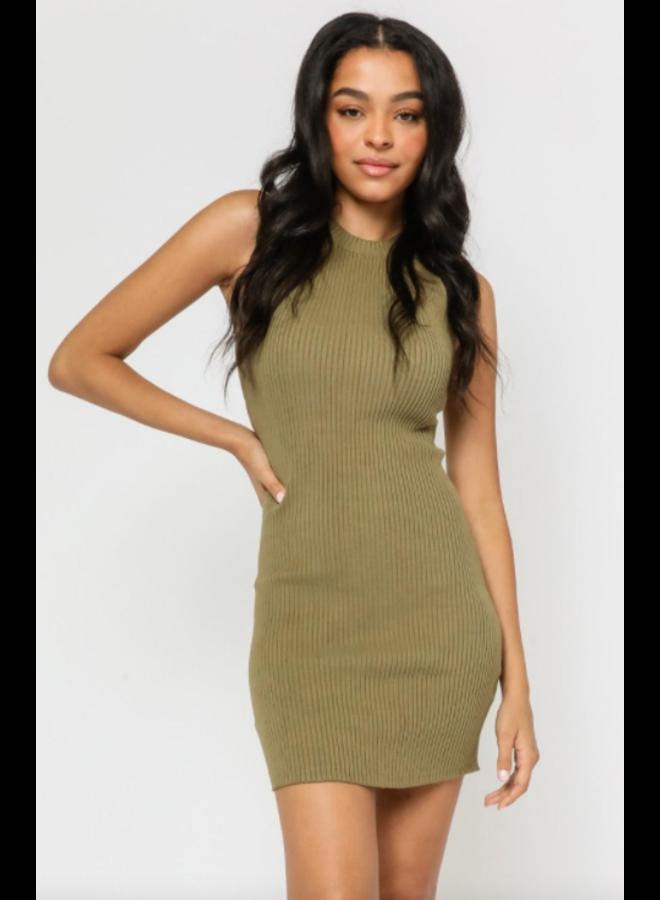 Ribbed Tank Dress Olive