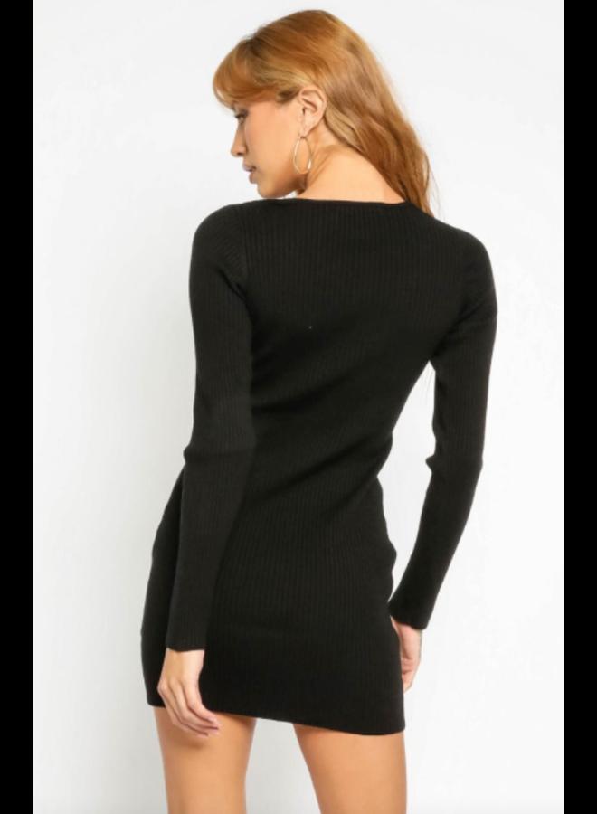 Ribbed Sweater Dress Black