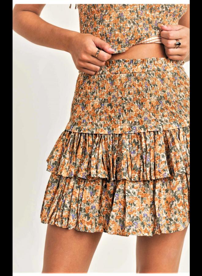 Sunny Smocked Skirt Mustard