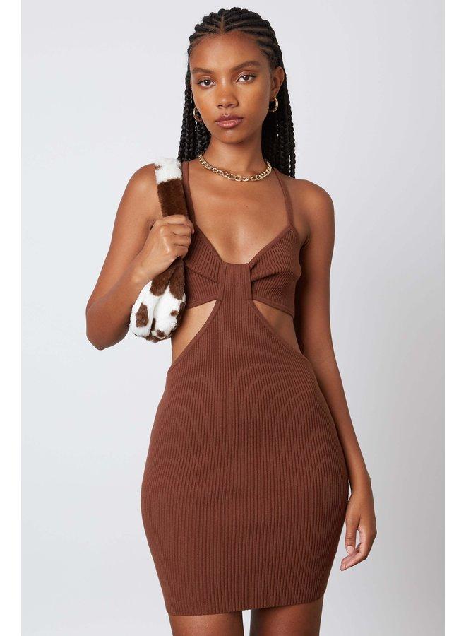 Tina Cut Out Dress Brown