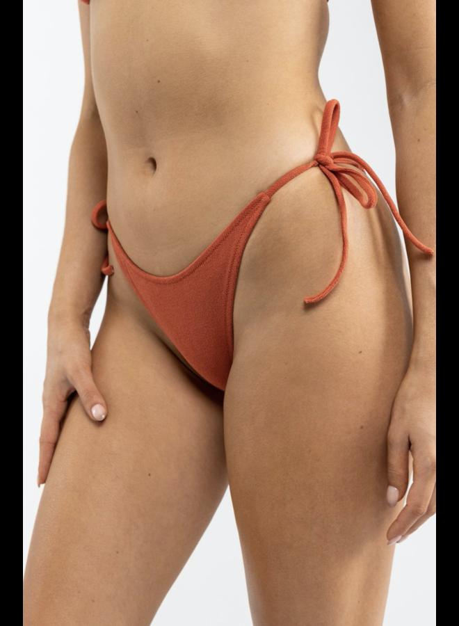 Terry Tie Side Hi Cut Bottom Burnt Orange