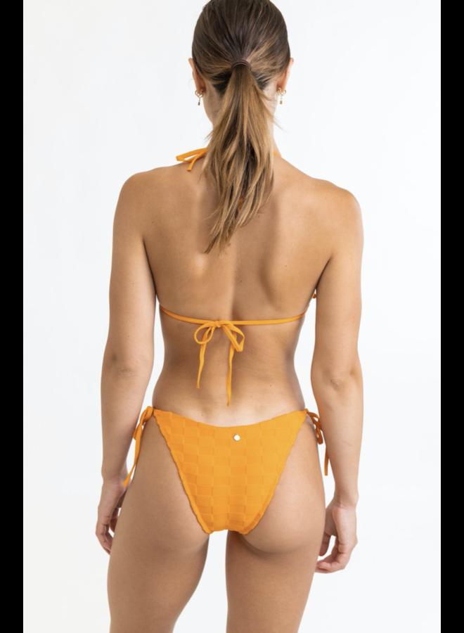 Checker Terry Tie Side Hi Cut Bottom Orange
