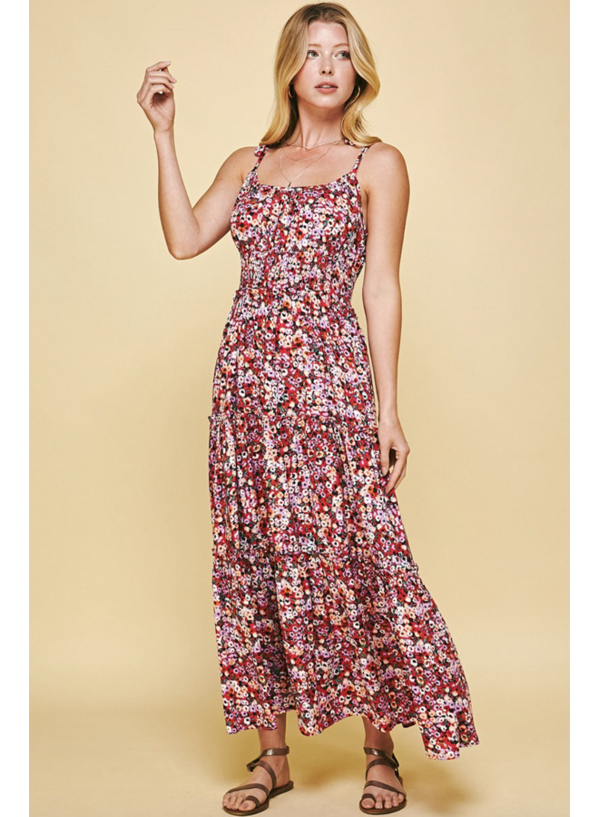 Rosey Midi Dress Red Floral
