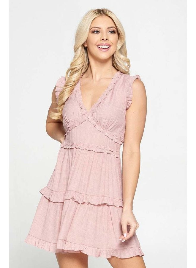 Ruffle V Neck Dress Dusty Pink