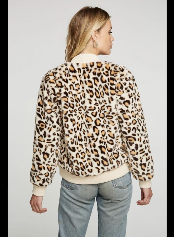 Animal Faux Fur Bomber Jacket