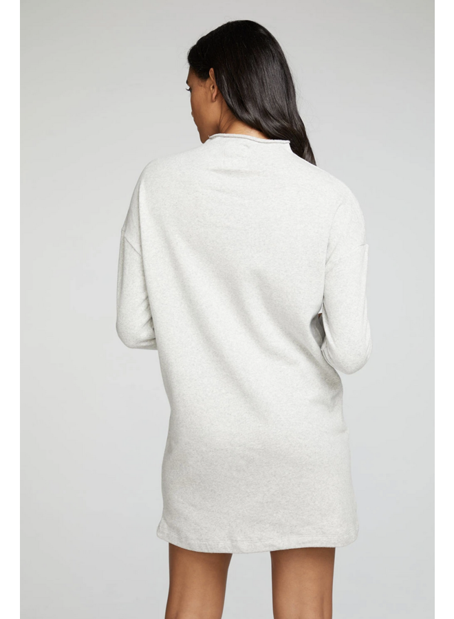 Cotton Mock Neck Dress Heater Grey