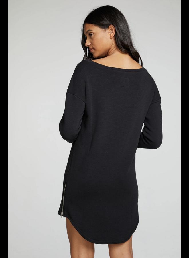 Slub Drop Shoulder Dress True Black