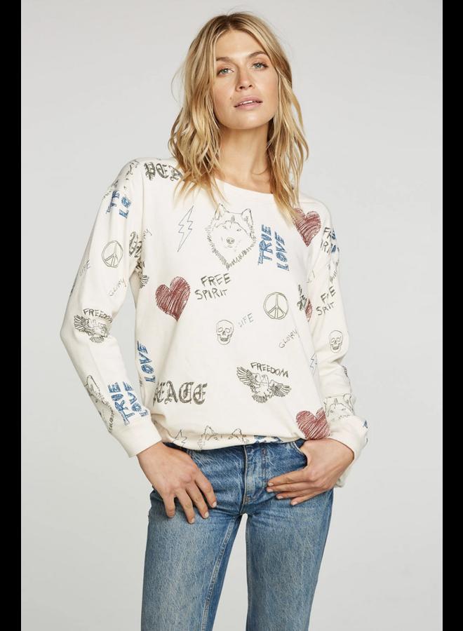 Cotton Fleece Pullover Scribble Scrabble