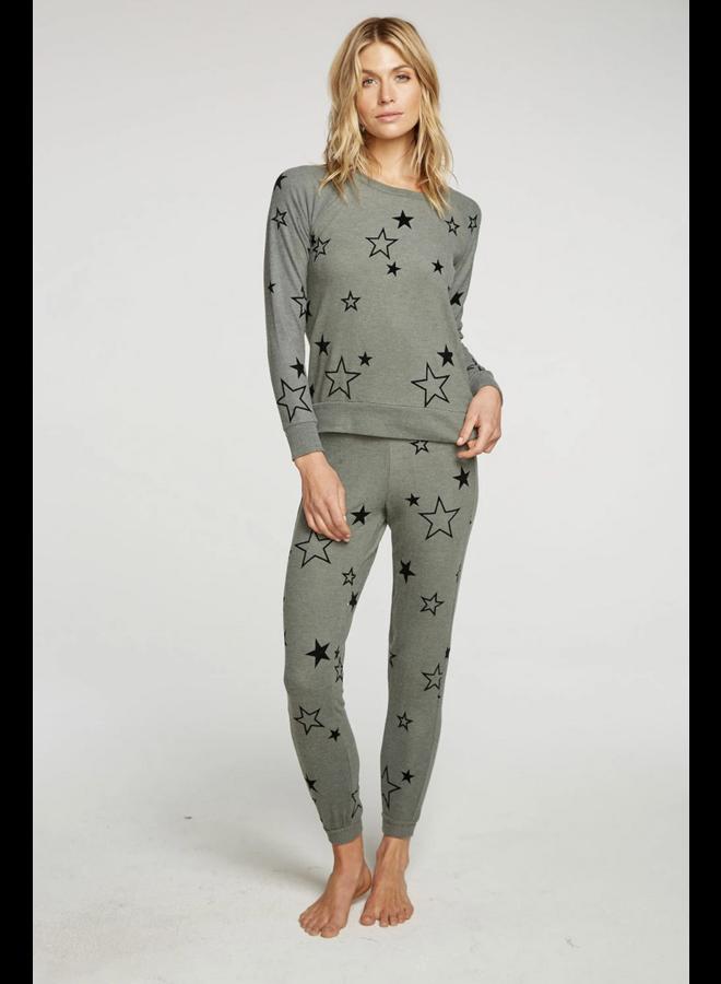 Bliss Knit Raglan Pullover Velvet Stars