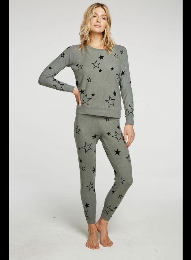 Bliss Knit Drawstring Jogger Velvet Stars