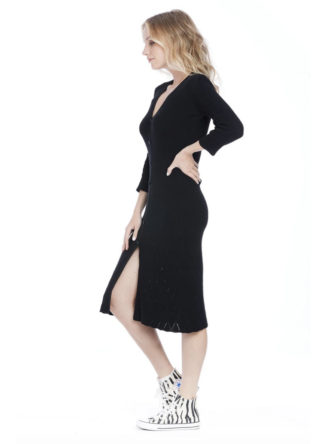 Cara Short Sleeve Sweater Dress Black