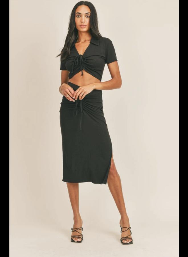 Keen Top Skirt Set Black