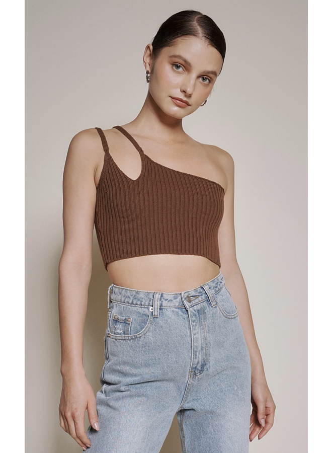 Remi One Shoulder Top Brown