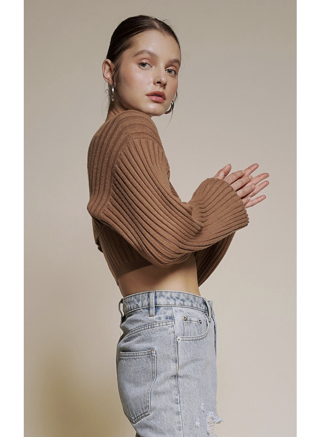Faye Shrug and Tank Sweater Set Brown