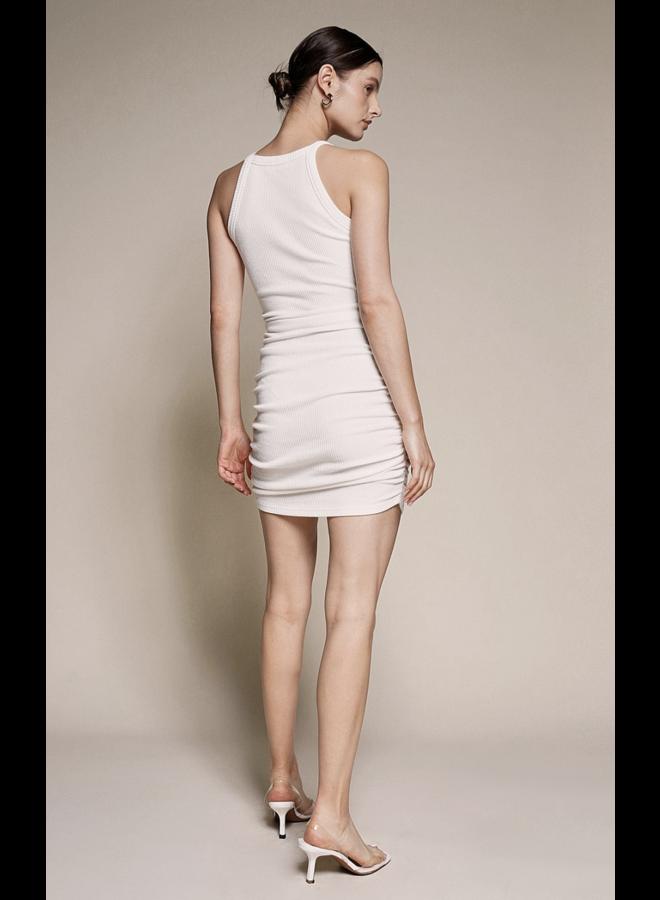 Sugar Knit Ribbed Dress Off White