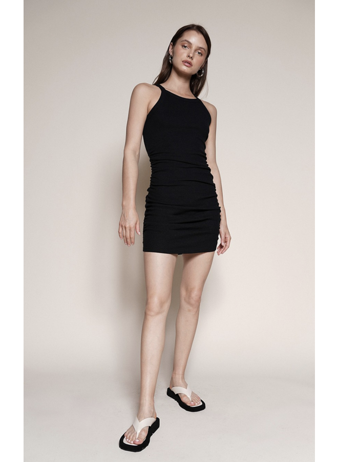 Sugar Knit Ribbed Dress Black