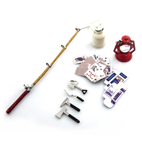 Parts Yeah Racing 1/10 RC Crawler Camping Accessory Combo w/ Oil Lamp, Fishing Rod, Poker Card, Milk Can, Tools Set