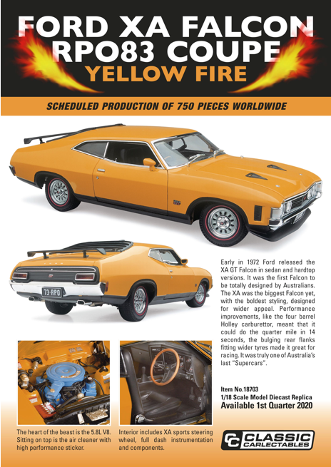 Diecast CLASSIC CARLECTABLES Diecast 1/18 Scale Ford XA Falcon RPO83 Coupe Yellow Fire