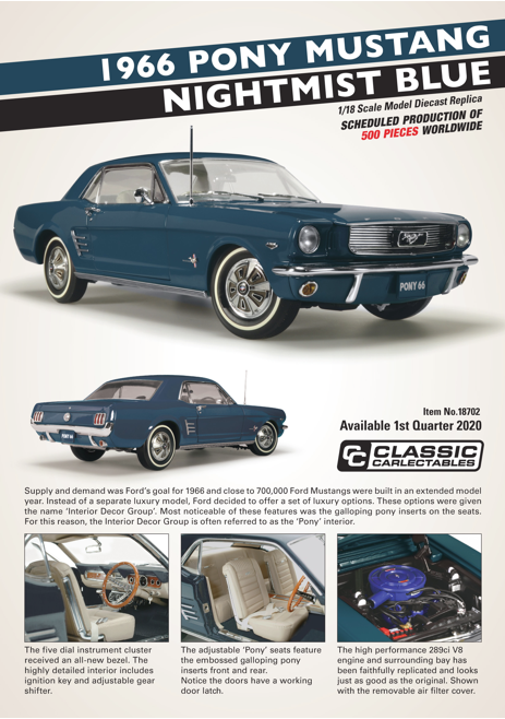 Diecast CLASSIC CARLECTABLES Diecast 1/18 Scale Pony Mustang Nightmist Blue