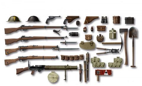 Plastic Kits ICM (d) 1:35 Scale WW1 British  Infantry Weapon & Equipment.