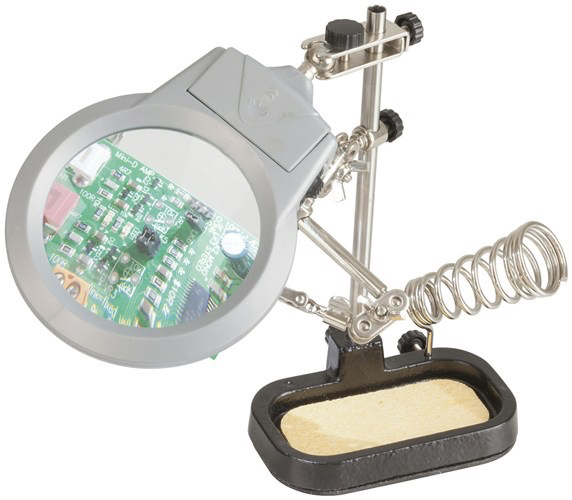 General Electus PCB Holder with LED Magnifier and Soldering Iron Stand