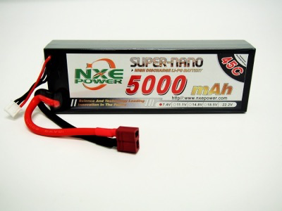 Battery LiPo NXE 7.4v 5000mah 45c H/case Lipo w/Deans