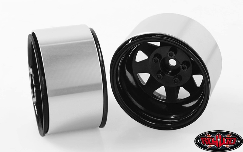 "Wheels RC4WD 5 Lug Deep Dish Wagon 1.9"" Steel Stamped Beadlock Wheels (Black) (4)"